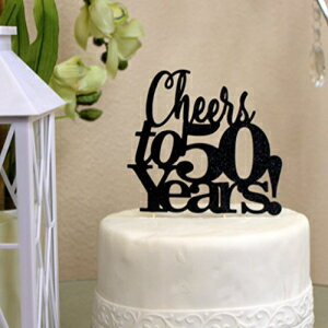 All About Details Black Cheers to 50 Years! Cake Topper画像