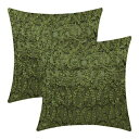 The White Petals Moss Green Decorative Pillow Covers (Ribbon Work, 18x18 inch, Pack of 2)