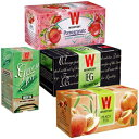 Wissotzky Tea Moments of Magic Collection, Earl Grey, Peach, Pomegranate, & Green Tea With Lemongrass & Ginger, 4 Count (Pack of 1), Multi