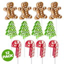 Prextex Holiday-Themed Lollipops (12 Pack) Great for Christmas Goody Bag Fillers or Christmas Stocking Stuffers