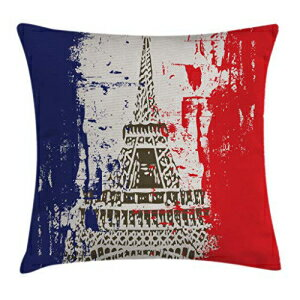 """Ambesonne Paris Throw Pillow Cushion Cover, Grunge Style French Flag with Eiffel Tower City of Love in Retro Colors Europe, Decorative Square Accent Pillow Case, 18"""" X 18"""", Blue Beige"""
