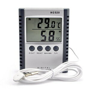 iKKEGOL Digital Indoor Outdoor in/Out Wall Mount Monitor Sensor LCD Temperature Thermometer Hygrometer Humidity Meter with Probe Cable画像