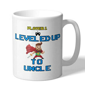 MugBros Funny New Uncle Coffee Mug Novelty Video Game Gift Leveled Up to Uncle Gift 11 Ounce Coffee Mug画像