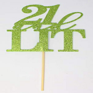 All About Details CAT21AL 21 and Lit Cake Topper, 1pc, happy 21st birthday (Lime Green), 5 x 9画像