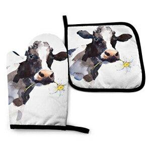 キッチン消耗品, その他 Cute Milk Cow Personalized Hot Pads and Oven Mitts Sets for Kitchen, 3D Customization,Flexible Oven Gloves with Hanging Loop Heat Resistant Up to Protect Hands,Handling Hot Cookware,Easy to Clean