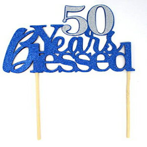 All About Details 50 Years Blessed Cake Topper, 1pc, 50th birthday, 50th anniversary, glitter topper, party decoration, photo props (Blue & Silver)画像