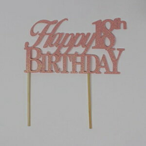 All About Details Happy 18th Birthday Cake Topper (Glitter Pastel Pink)画像
