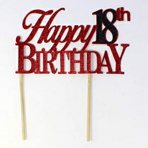 All About Details Happy 18th Birthday Cake Topper,1pc, 18th Birthday, Cake Decor, Party Decor, Glitter Topper (Red & Black)画像