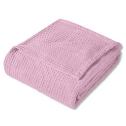 Sweet Home Collection 100% Fine Cotton Blanket Luxurious Basket Weave Stylish Design Soft and Comfortable All Season Warmth, Full/Queen, Pink