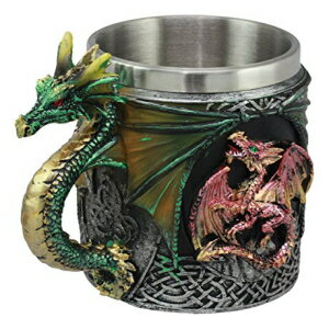 Ebros Gift Ebros Myths And Legends The Conception Of Red Fire Oberon Dragon Beer Stein Tankard Coffee Cup Mug With Green Dragon Handle Great Gift For Dragon Lovers Party Hosting GOT Hobbit LOTR (Green Dragon)画像
