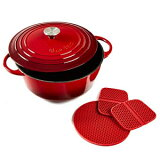 Uno Casa Enameled Cast Iron Dutch Oven with Lid - 6 Quart Enamel Coated Cookware Pot with Silicone Handles and Mat