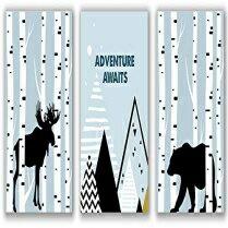 インテリア・寝具・収納, その他 Midoro Baby Boy Woodland Nursery Prints - Unframed, Adventure Awaits Print, Bear and Moose Print, Woodland Forest Animals Art, Mountains, Woodland Nursery Decor (Woodland Nursery, 8 x 10)