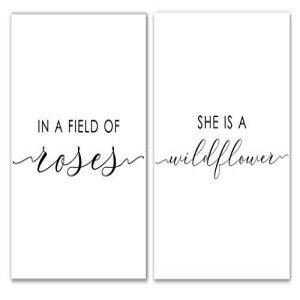 インテリア・寝具・収納, その他 Midoro in A Field of Roses She is A Wildflower Print - Unframed, Flower Girl, Baby Girl Nursery Printable Wall Art, Nursery Decor Set of 2 (in A Field of Roses, 8 x 10)