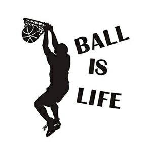 インテリア・寝具・収納, その他 Finduat Basketball Slam Dunk Wall Decal Sticker - Ball is Life - Basketball Player Decor Wall - Removable Wall Sticker Sports Style Wall Decor for Kids Boys Teens