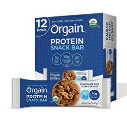 オーガニックオーガニック植物ベースのプロテインバー、チョコレートチップクッキー生地-ビーガン、グルテンフリー、非乳製品、大豆フリー、ラクトースフリー、コーシャー、非GMO、1.41オンス、12カウント(包装は異なる場合があります) Orgain Organic Plant Based Pr
