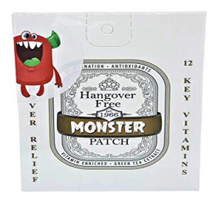 Monster Patch Monster Hangover Prevention 5 Patches (Five Total). 12 Booster Enriched Vitamins. Each Individually Packaged. Peace Out to Your Hangover.画像