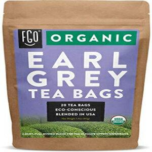 茶葉・ティーバッグ, ハーブティー Organic Earl Grey Black Tea Bags 20 Tea Bags Chinese Keemun, Indian Assam Italian Bergamot Blend Eco-Conscious Tea Bags in Kraft Bag by FGO