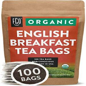 茶葉・ティーバッグ, ハーブティー Organic English Breakfast Black Tea Bags 100 Tea Bags Chinese Keemun Indian Assam Blend Eco-Conscious Tea Bags in Kraft Bag by FGO