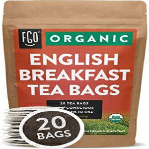 茶葉・ティーバッグ, 紅茶 Organic English Breakfast Black Tea Bags 20 Tea Bags Chinese Keemun Indian Assam Blend Eco-Conscious Tea Bags in Kraft Bag by FGO