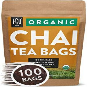 茶葉・ティーバッグ, ハーブティー Organic Chai Tea Bags 100 Tea Bags Blend of Chinese Keemun Tea, Indian Assam Tea, Cinnamon, Cardamom, Cloves, Ginger, Black Pepper Eco-Conscious Tea Bags in Kraft Bag Blended in USA by FGO