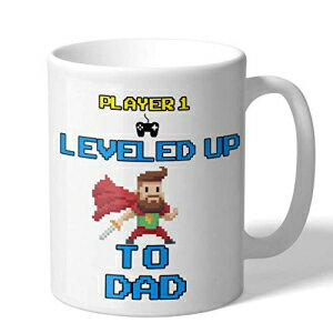 MugBros Gift For New Dads New Dad Coffee Mug Novelty Video Game Gift Leveled Up to Dad 11 Ounce Coffee Mug画像