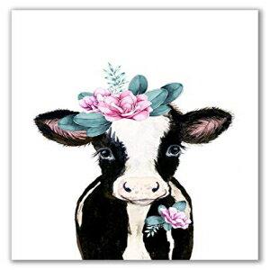 インテリア・寝具・収納, その他 Midoro Flower Crowned Brown Calf - Unframed, Brown Cow, Babby Cow, Nursery Animals, Girl Decor, Nursey Wall Decor, Girl Room, Cow Portrait, Baby Farm Animals (Flower Crowned, 8 x 10)