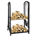 BABYLON Fireplace Log Holder Rack with 2 Wheels Fireplace Wood Mover Brush Shovel Poker Firepit Firewood Rack Carrier Cut Wood Lumber Stove Storage Stacking Log Bin Stand for Indoor Outdoor,31.5 x 14 x 14in