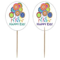 ザフロンショップハッピーイードフラワーパーティーカップケーキトッパー(12パック) Zaffron Shop Happy Eid Flower Party Cupcake Toppers (12 pack)