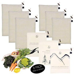 Reusable Produce Bags by 'AINA Life | SET OF 9 Mesh and Muslin Bulk Storage for ZERO WASTE LIVING | 100% Organic Cotton, 100% Biodegradable with Tare Weight labels SAVE MOTHER EARTH FROM PLASTIC
