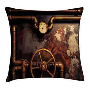 寝具, その他 Ambesonne Industrial Throw Pillow Cushion Cover, Steam Pipes and Pressure Gauger Vintage Style Damaged Timeworn Engine, Decorative Square Accent Pillow Case, 26 X 26, Orange Bronze