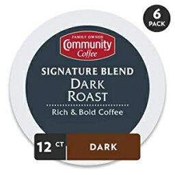 72カウント、シグネチャーダークロースト、コミュニティコーヒー-シグネチャーブレンドダークローストコーヒー-72 Ctシングルサーブ(12カウント、6パック)、キューリグ2.0 Kカップ醸造所と互換性があり、全身の大胆な味、100%アラビカコーヒー豆 72 Count, Signatur