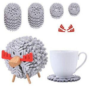 キッチン用品・食器・調理器具, その他 COOLYOUTH Jagucho Felt Fabric Drink Coaster Set of 14pcs with Wood Holder Absorbent Heat-Resistant Reusable Saucers Desk Funny Cup Coaster for Drinks (Gery 02)