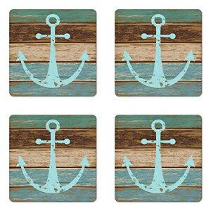 キッチン用品・食器・調理器具, その他 4 Ambesonne Anchor Coaster Set of 4, Timeworn Marine on Weathered Wooden Planks R