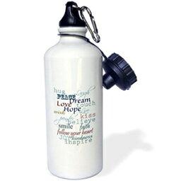 "3dRose wb_123651_1「生きるための刺激的な言葉」スポーツウォーターボトル、21オンス、ホワイト 3dRose wb_123651_1""Inspiring words to live by"" Sports Water Bottle, 21 oz, White"