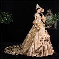 貴族 衣装 王族服 カラードレス 貴族 ドレス ステージ衣装としても最適 お姫様ドレス 中世貴族風 しりもちドレス 新劇演出 現代劇演出 ヨーロッパ風 結婚式 演出服 パーティードレス サイズ指定 パニエ追加可 S/M/L/XL/2XL/3XL d9274c0c0d4