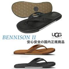 【国内正規商品】2015SS入荷 UGG AUSTRALIA( アグ オーストラリア ) Men's Bennison 2 ( ベニッソン ) メンズ レザートングサンダル【 BLACK 】 ugg ビーチサンダル ベニソン II