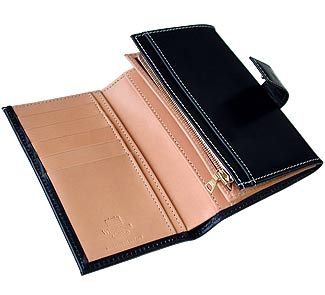 Whitehouse Cox TWO TONE BRIDLE WALLET WITH ZIPNAVY / NATURAL