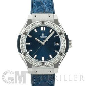 恒宝Classic Fusion Blue Titanium Ladies Bezel Diamond 581.NX.7170.LR.1104 HUBLOT二手女士腕表免费送货_全年无休