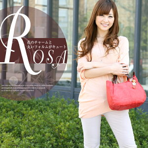 SACURA 日本製 フラワーモチーフ型押し牛革 ハンドバッグ 「ROSA」 【…