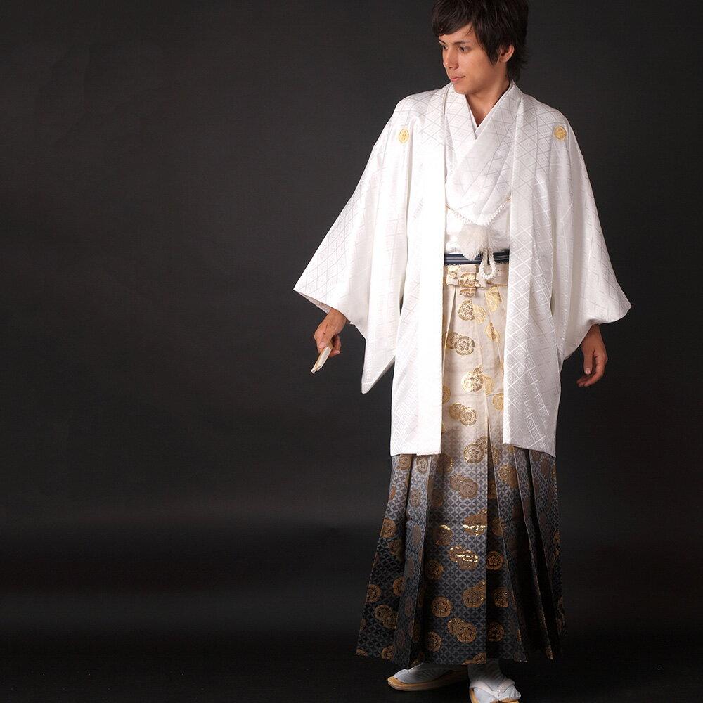 【レンタル】【成人式】安心の最大1ヶ月レンタル可能 男性用レンタル紋付き袴フルセット-7085