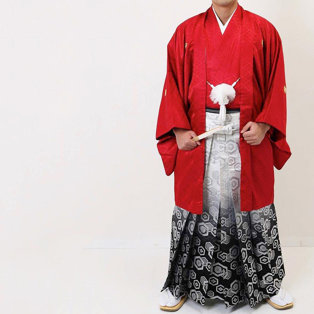 【レンタル】【成人式】安心の最大1ヶ月レンタル可能 男性用レンタル紋付き袴フルセット-7228