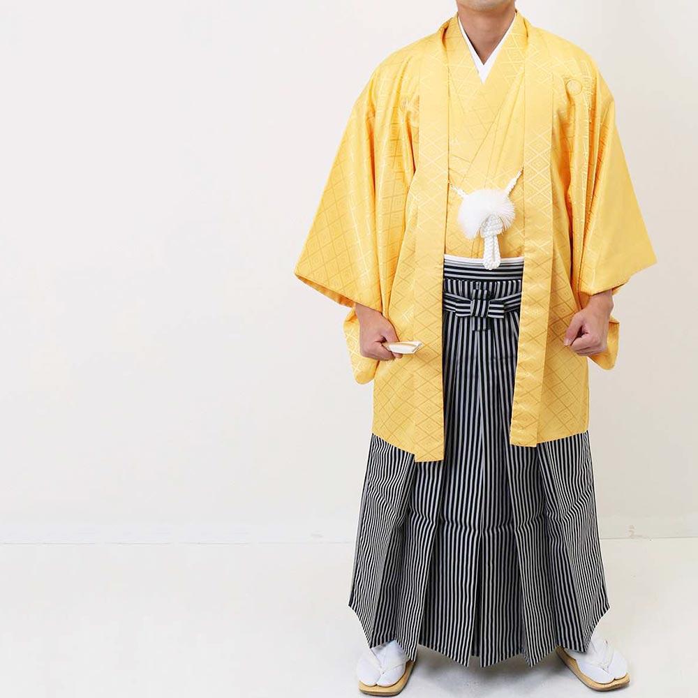 【レンタル】【成人式】安心の最大1ヶ月レンタル可能 男性用レンタル紋付き袴フルセット-7249