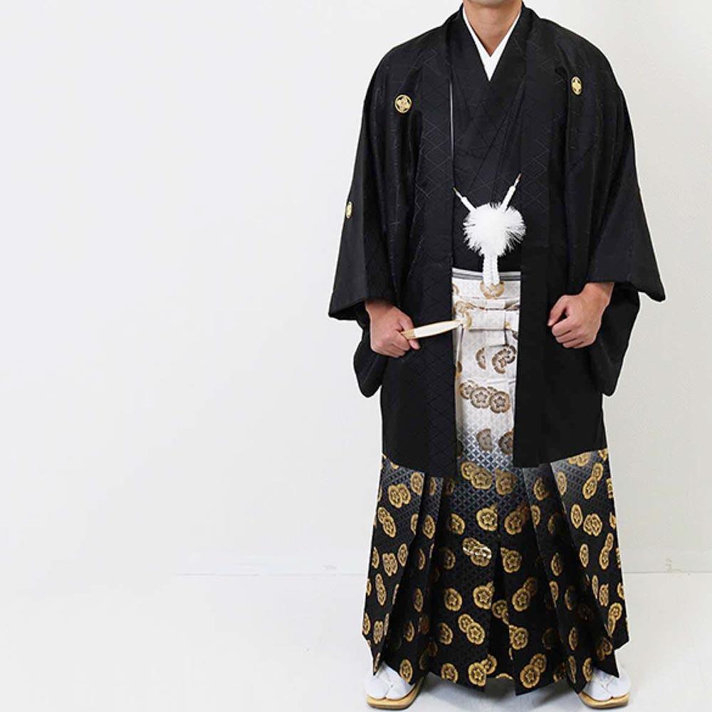 【レンタル】【2020年成人式】安心の最大1ヶ月レンタル可能 男性用レンタル紋付き袴フルセット-7281