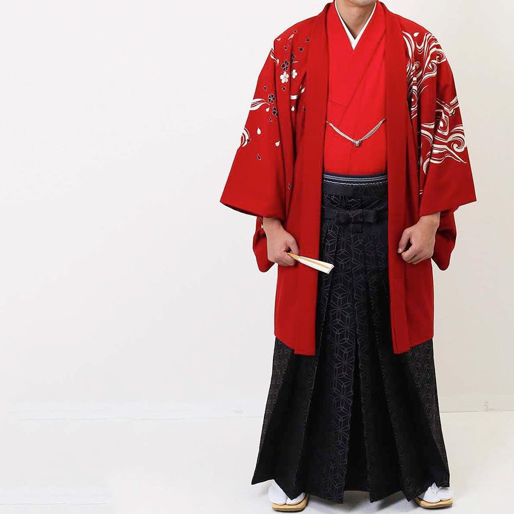【レンタル】【成人式】安心の最大1ヶ月レンタル可能|男性用レンタル紋付き袴フルセット-7284
