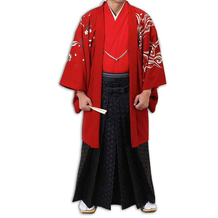 【レンタル】【成人式】安心の最大1ヶ月レンタル可能 男性用レンタル紋付き袴フルセット-7297