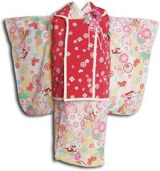 【往復送料無料】【レンタル七五三】【pom ponette ポンポネット】女の子3歳用七五三被布フルセット