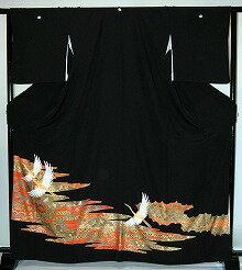 【レンタル】【貸衣裳】 rt205:金彩夫婦鶴と松 留袖 【貸衣装】 ワイドサイズ ゆったりサイズ 大きいサイズ 往復 送料無料【smtb-k】