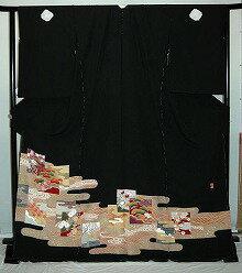【レンタル】【貸衣裳】 rt209:雲取に色紙柄 留袖 【貸衣装】 ワイドサイズ ゆったりサイズ 大きいサイズ 往復 送料無料【smtb-k】