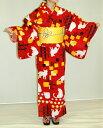 【レンタル】ゆかた【赤地に白い猫】〔浴衣〕〔ユカタ〕〔レンタ...