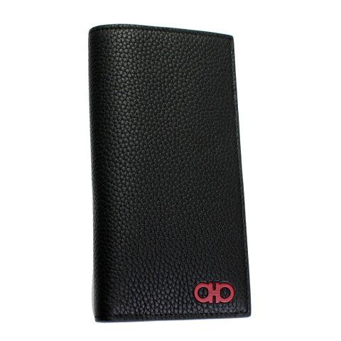 フェラガモ 財布 メンズ 66A074 FERRAGAMO 長札入れ カーフレザー ブラック 内側バード柄 66A074 720314